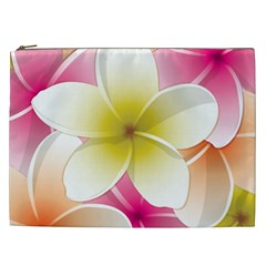 Frangipani Flower Floral White Pink Yellow Cosmetic Bag (xxl)  by Mariart