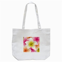Frangipani Flower Floral White Pink Yellow Tote Bag (white) by Mariart