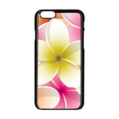 Frangipani Flower Floral White Pink Yellow Apple Iphone 6/6s Black Enamel Case by Mariart