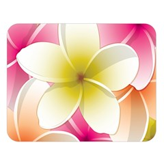 Frangipani Flower Floral White Pink Yellow Double Sided Flano Blanket (large)  by Mariart