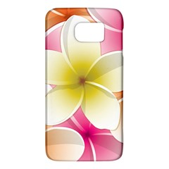 Frangipani Flower Floral White Pink Yellow Galaxy S6 by Mariart