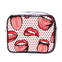 Lipstick Lip Red Polka Dot Circle Mini Toiletries Bags by Mariart