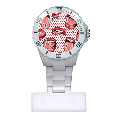 Lipstick Lip Red Polka Dot Circle Plastic Nurses Watch by Mariart