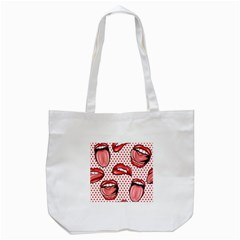 Lipstick Lip Red Polka Dot Circle Tote Bag (white) by Mariart