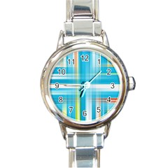 Lines Blue Stripes Round Italian Charm Watch by Mariart