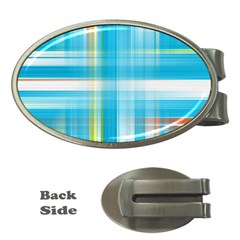 Lines Blue Stripes Money Clips (oval)  by Mariart