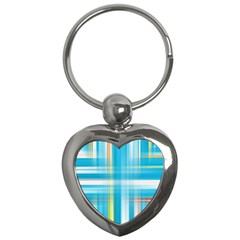 Lines Blue Stripes Key Chains (heart)  by Mariart