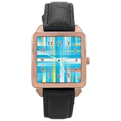 Lines Blue Stripes Rose Gold Leather Watch  by Mariart