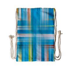 Lines Blue Stripes Drawstring Bag (small) by Mariart