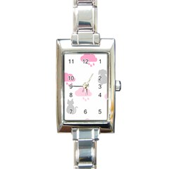 Raining Cats Dogs White Pink Cloud Rain Rectangle Italian Charm Watch by Mariart