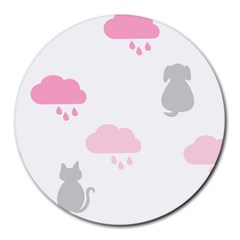 Raining Cats Dogs White Pink Cloud Rain Round Mousepads by Mariart