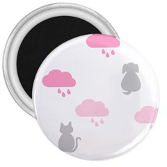 Raining Cats Dogs White Pink Cloud Rain 3  Magnets by Mariart