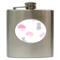 Raining Cats Dogs White Pink Cloud Rain Hip Flask (6 Oz) by Mariart