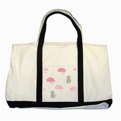 Raining Cats Dogs White Pink Cloud Rain Two Tone Tote Bag by Mariart
