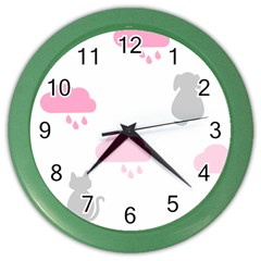 Raining Cats Dogs White Pink Cloud Rain Color Wall Clocks by Mariart