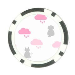 Raining Cats Dogs White Pink Cloud Rain Poker Chip Card Guard by Mariart