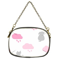Raining Cats Dogs White Pink Cloud Rain Chain Purses (one Side)  by Mariart