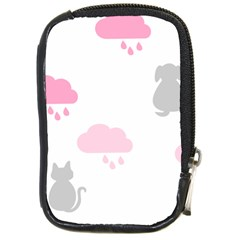 Raining Cats Dogs White Pink Cloud Rain Compact Camera Cases by Mariart
