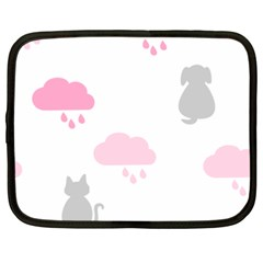 Raining Cats Dogs White Pink Cloud Rain Netbook Case (xxl)  by Mariart