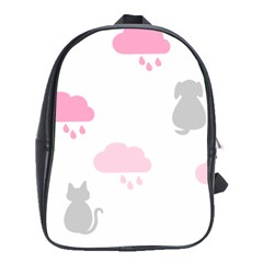 Raining Cats Dogs White Pink Cloud Rain School Bags(large)