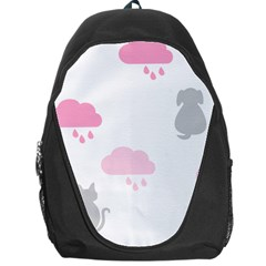 Raining Cats Dogs White Pink Cloud Rain Backpack Bag by Mariart