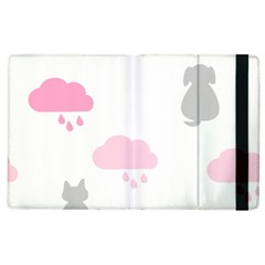Raining Cats Dogs White Pink Cloud Rain Apple Ipad 3/4 Flip Case by Mariart