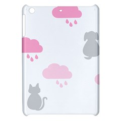 Raining Cats Dogs White Pink Cloud Rain Apple Ipad Mini Hardshell Case by Mariart