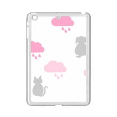 Raining Cats Dogs White Pink Cloud Rain Ipad Mini 2 Enamel Coated Cases by Mariart