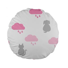 Raining Cats Dogs White Pink Cloud Rain Standard 15  Premium Flano Round Cushions by Mariart