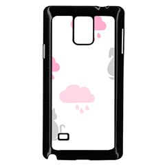 Raining Cats Dogs White Pink Cloud Rain Samsung Galaxy Note 4 Case (black) by Mariart