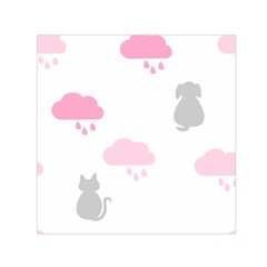 Raining Cats Dogs White Pink Cloud Rain Small Satin Scarf (square) by Mariart