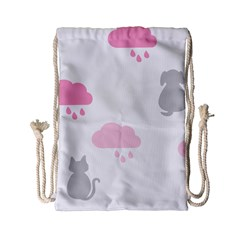 Raining Cats Dogs White Pink Cloud Rain Drawstring Bag (small) by Mariart
