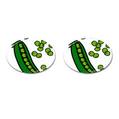 Peas Green Peanute Circle Cufflinks (oval) by Mariart
