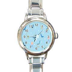 Seat Blue Polka Dot Round Italian Charm Watch by Mariart