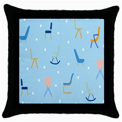 Seat Blue Polka Dot Throw Pillow Case (black) by Mariart