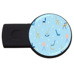 Seat Blue Polka Dot Usb Flash Drive Round (2 Gb) by Mariart