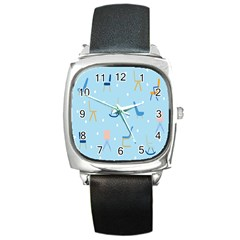 Seat Blue Polka Dot Square Metal Watch by Mariart