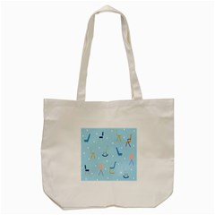 Seat Blue Polka Dot Tote Bag (cream) by Mariart