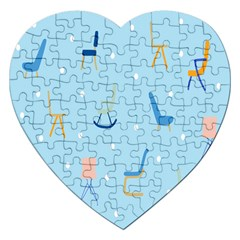 Seat Blue Polka Dot Jigsaw Puzzle (heart) by Mariart