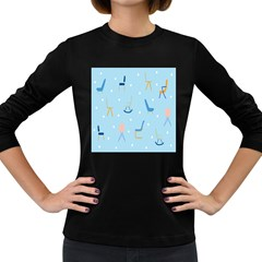 Seat Blue Polka Dot Women s Long Sleeve Dark T Shirts by Mariart
