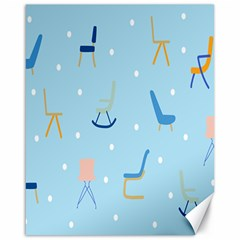 Seat Blue Polka Dot Canvas 16  X 20   by Mariart