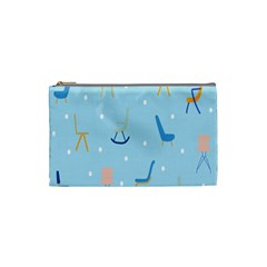 Seat Blue Polka Dot Cosmetic Bag (small)  by Mariart