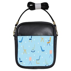 Seat Blue Polka Dot Girls Sling Bags by Mariart