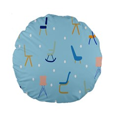 Seat Blue Polka Dot Standard 15  Premium Round Cushions by Mariart