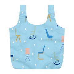 Seat Blue Polka Dot Full Print Recycle Bags (l)  by Mariart