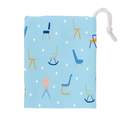 Seat Blue Polka Dot Drawstring Pouches (extra Large) by Mariart