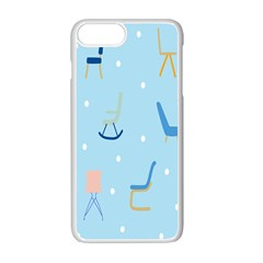 Seat Blue Polka Dot Apple Iphone 7 Plus White Seamless Case by Mariart