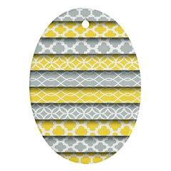 Paper Yellow Grey Digital Ornament (oval) by Mariart