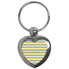 Paper Yellow Grey Digital Key Chains (heart)  by Mariart