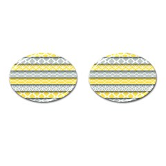 Paper Yellow Grey Digital Cufflinks (oval) by Mariart